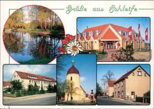 Ansichtskarte Schleife Teich, Sparkasse, Ortsmotiv, Kirche, Geschäft 1995