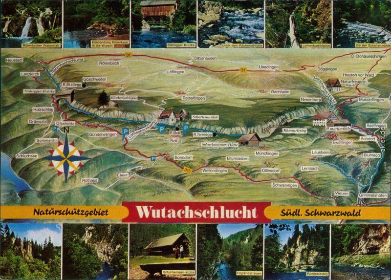 Ansichtskarte Titisee-Neustadt Landkarten-Ansichtskarte - Wutachschlucht 1970 0