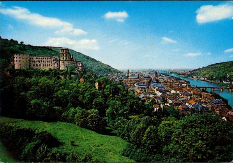 Ansichtskarte Heidelberg Panorama-Ansicht, Heidelberger Schloss 1976