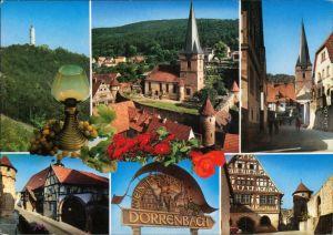 Ansichtskarte Dörrenbach Turm, Kirche, Straße, Häuser, Wegweiser 1969