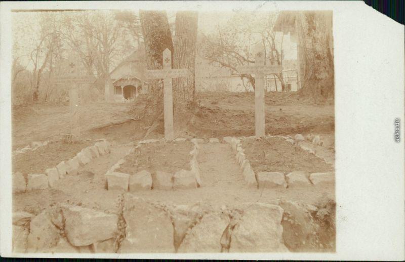 Ansichtskarte  Kriegsgräber in Rußland WK1 Privatfotokarte 1916