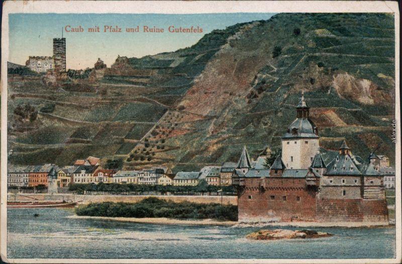 Ansichtskarte Kaub Künstlerkarte: Burg Pfalzgrafenstein 1910