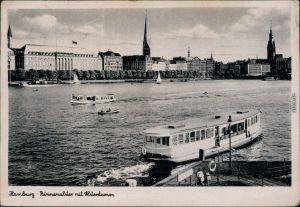 Ansichtskarte Altstadt-Hamburg Fährschiff auf der Binnenalster 1947