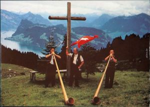 Luzern Lucerna Alphornbläser am Pilatus, Blick auf Bürgenstock 2000