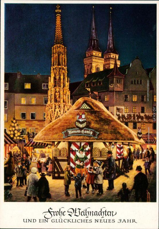 Weihnachtsmarkt Nürnberg.Ansichtskarte Nürnberg Christkindles Markt Weihnachtsmarkt 1965