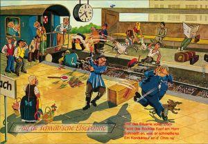 Ansichtskarte  Scherzkarten - Auf de schwäb'sche Eisenbahn 1999
