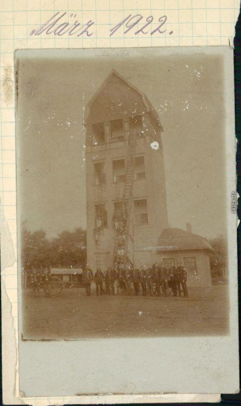 Ansichtskarte  Feuerwehr vorm Übungsturm 1920 Privatfoto
