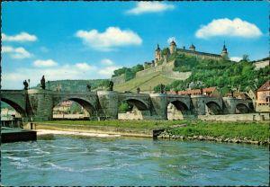 Ansichtskarte Würzburg Alte Mainbrücke mit Festung Marienberg 1973