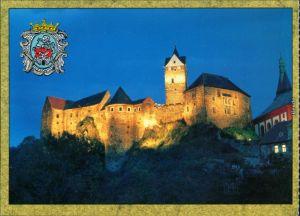 Elbogen (Eger) Loket Hrad Loket - Burg Elbogen bei Nach mit Beleuchtung 1997