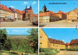 Hildburghausen Marktplatz, Goetheplatz, Panorama-Ansicht, Ernst-Thäl.-Platz 1971
