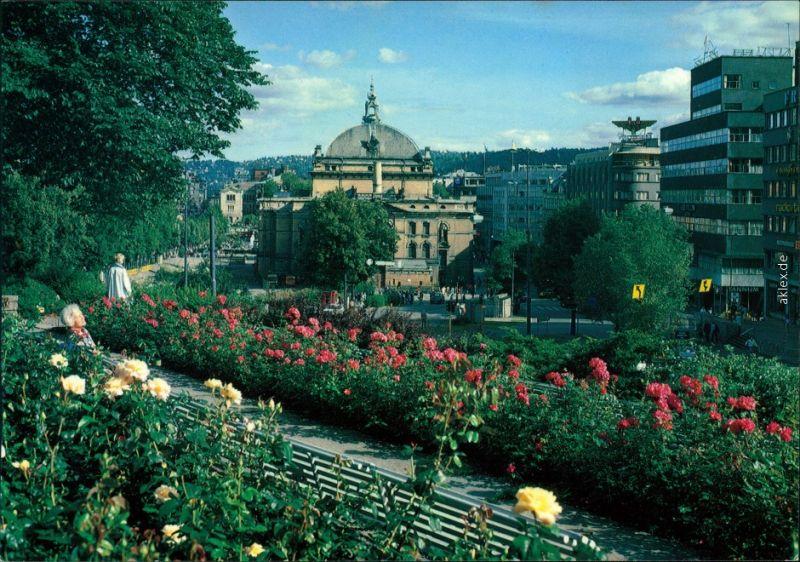 Oslo Kristiania Nationaltheatret fra Abelhaugen vom Park aus gesehen 1988