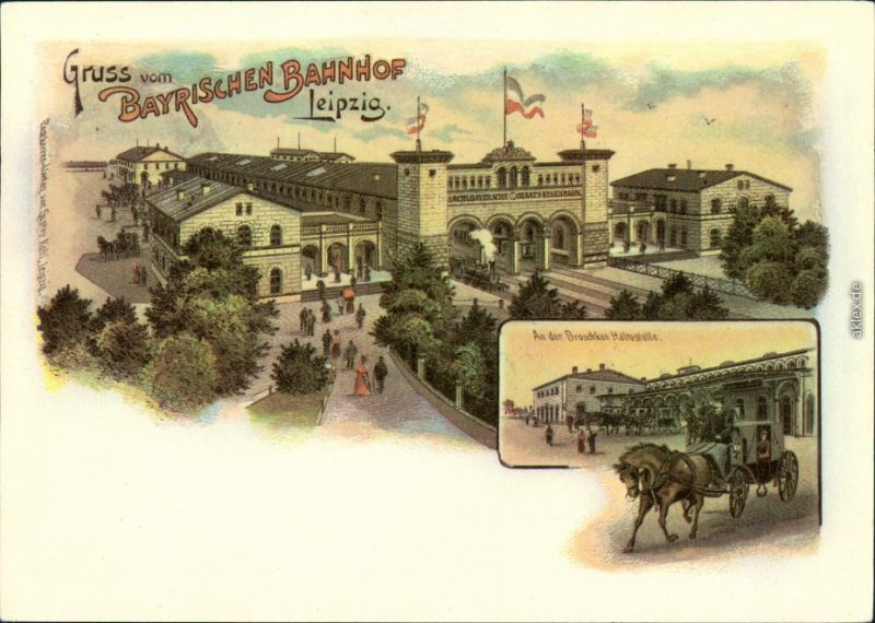 Ansichtskarte Leipzig Bayerischer Bahnhof - Repro 1899/1984
