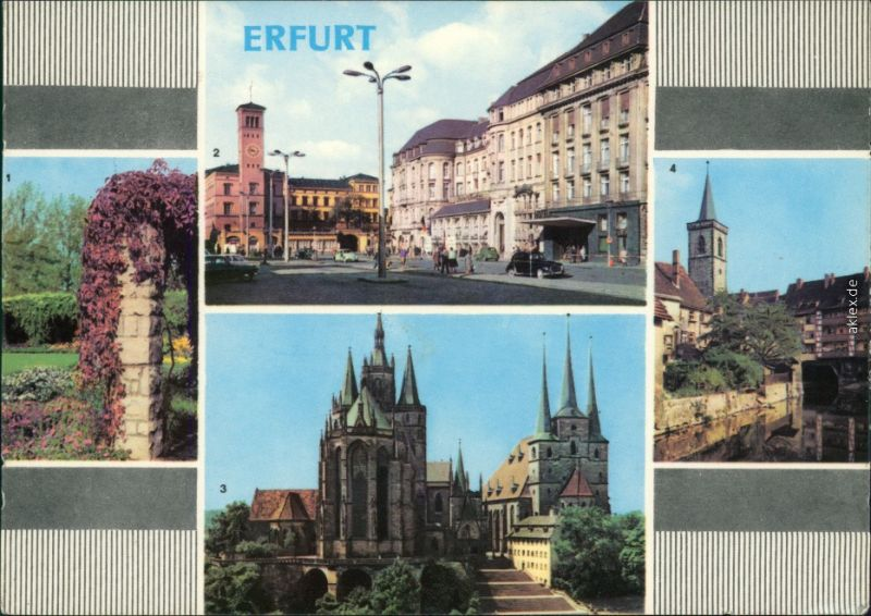 Erfurt Stadtpark, Bahnhofsplatz mit HO-Hotel Erfurter Hof, Dom und Severi 1967