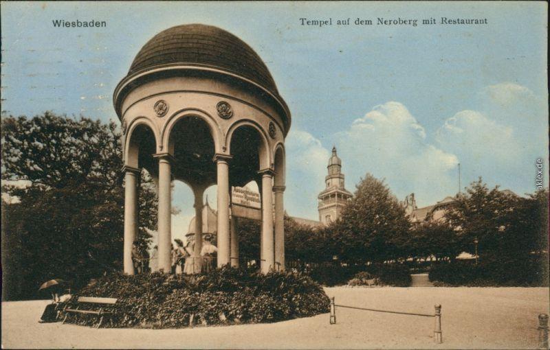 Ansichtskarte Wiesbaden Tempel - Neroberg mit Restaurant 1911