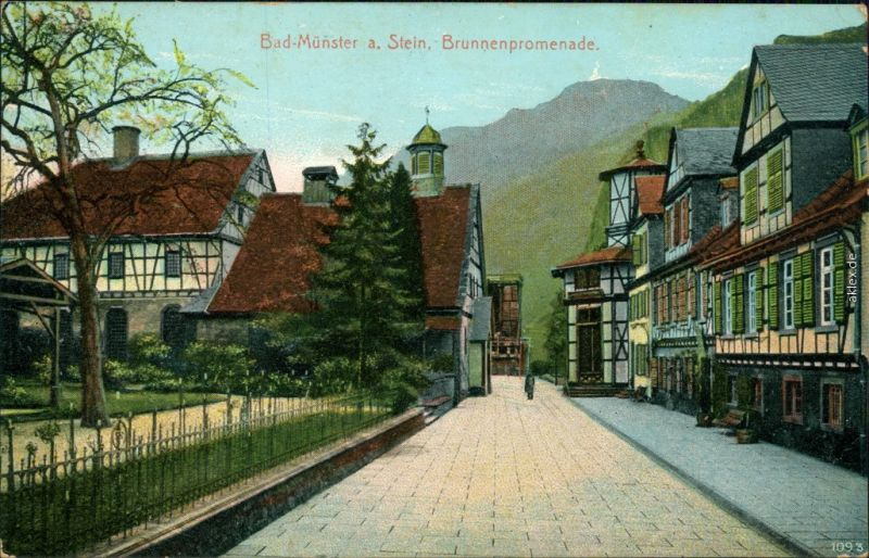 Ansichtskarte Bad Münster am Stein-Ebernburg Brunnenpromenade 1911