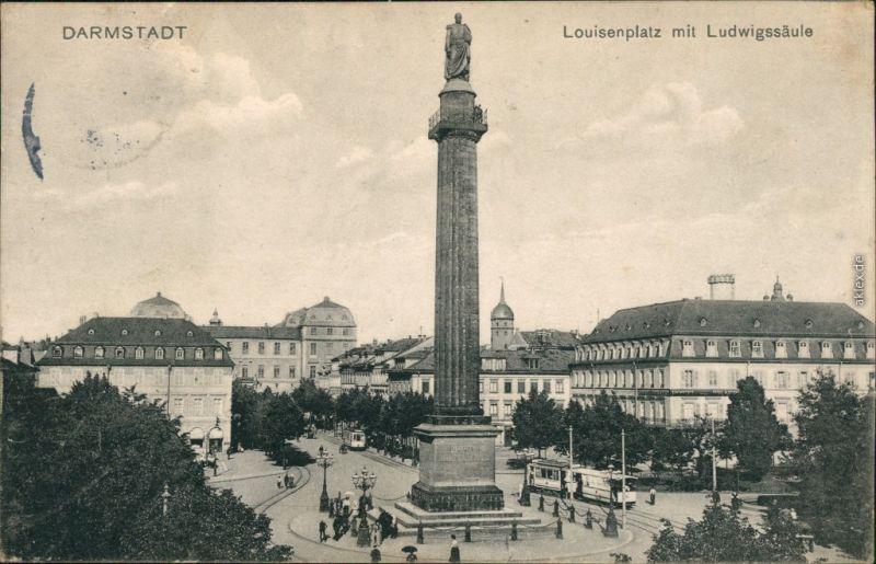 Ansichtskarte Darmstadt Luisenplatz, Ludwig-Säule 1911