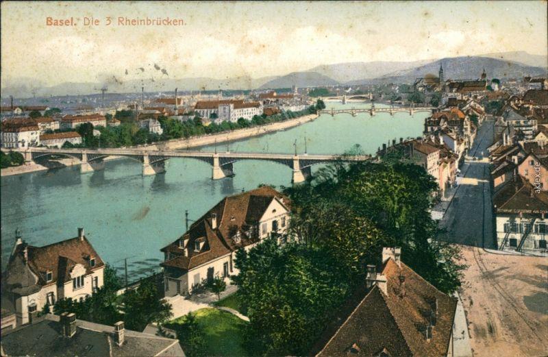 Ansichtskarte Basel Die 3 Rheinbrücken 1905