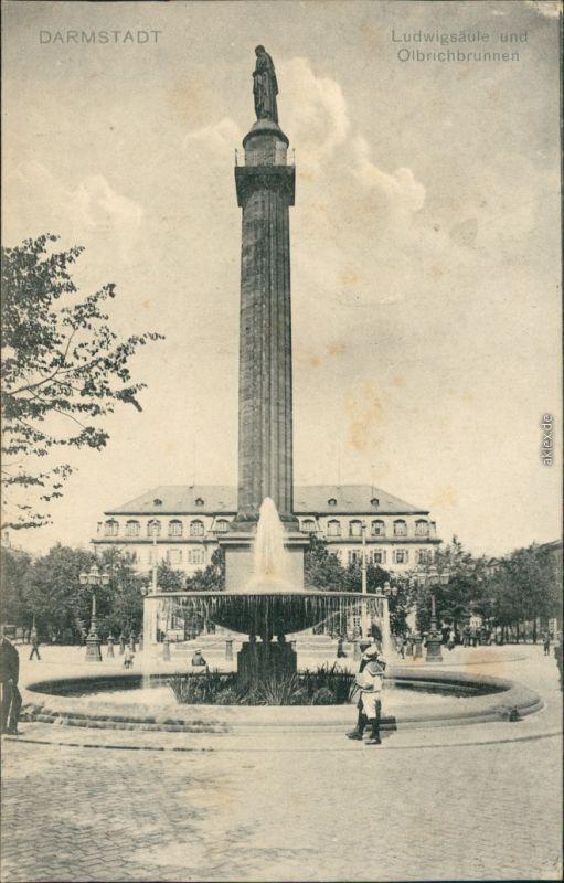 Ansichtskarte Darmstadt Ludwig-Säule und Olbrichbrunnen 1930