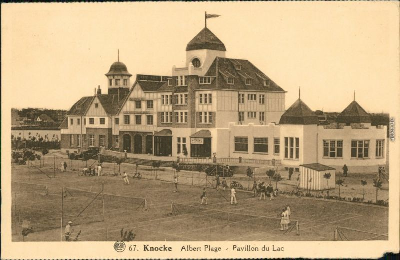 Ansichtskarte Knokke-Heist Pavillon du Lac (See-Pavillon) mit Tennisplatz 1923