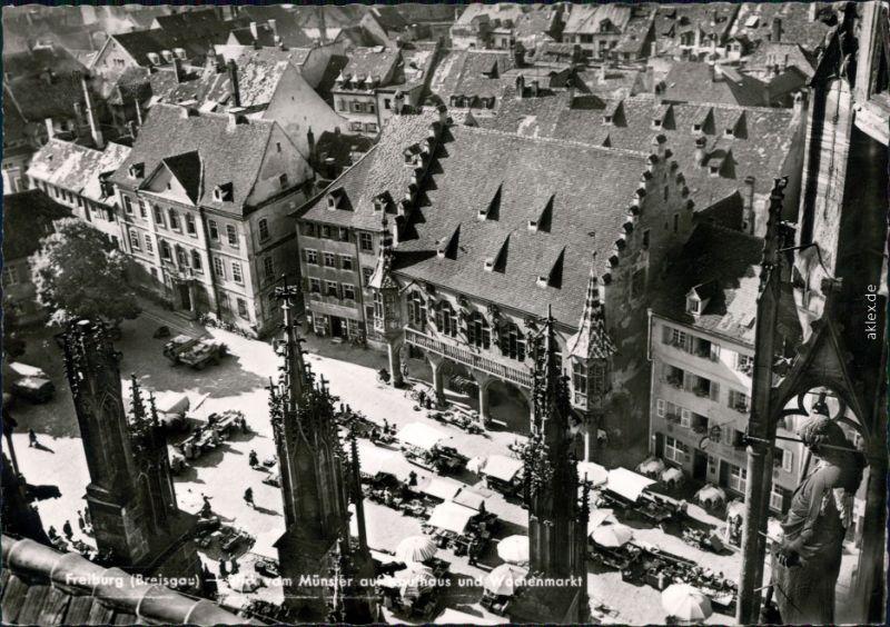 Ansichtskarte Freiburg im Breisgau Münster und Wochenmarkt 1964