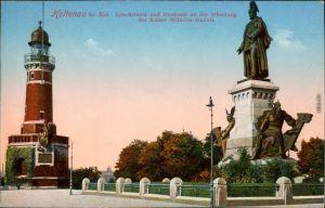 Ansichtskarte Holtenau-Kiel Holtenå Leuchtturm, Kaiser Wilhelm Denkmal 1910