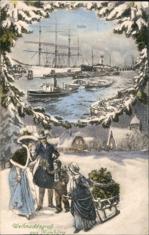 Ansichtskarte Hamburg Winterkarte - Schlitten - Hafen 1913