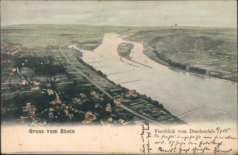 Ansichtskarte Königswinter Gruss vom Rhein: Fernblick vom Drachenfels 1905