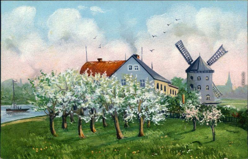 Ansichtskarte Gohlis-Dresden Gohliser Windmühle - Gemälde 1912