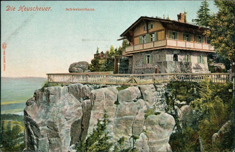 Ansichtskarte Karlsberg Karłów Schweizerhaus Heuscheuer 1915