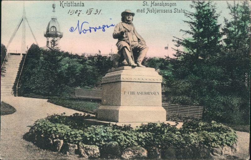 Ansichtskarte Oslo Kristiania St. Hanshaugen med Asbjornsens Statue 1912