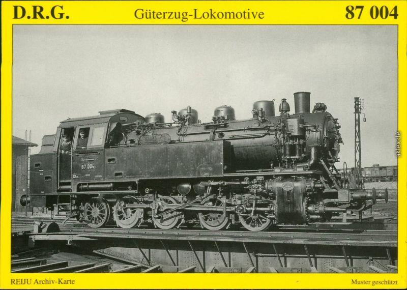 Ansichtskarte  Güterzug-Tenderlokomotive 87 004 1990