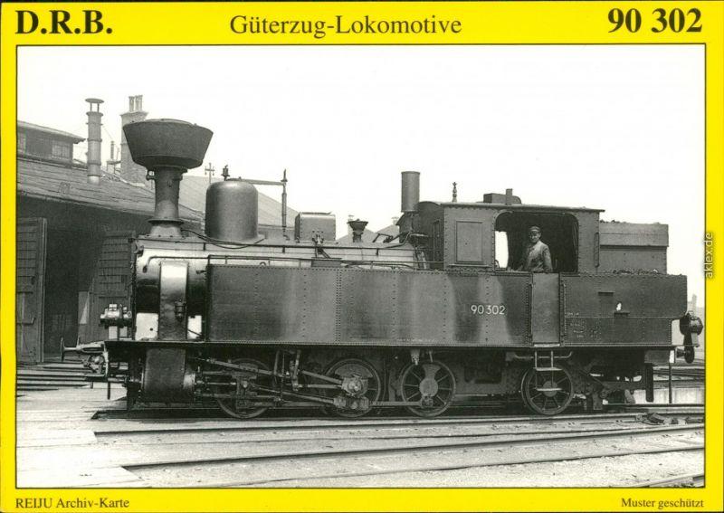 Ansichtskarte  Güterzug-Tenderlokomotive 90 302 1907/1995