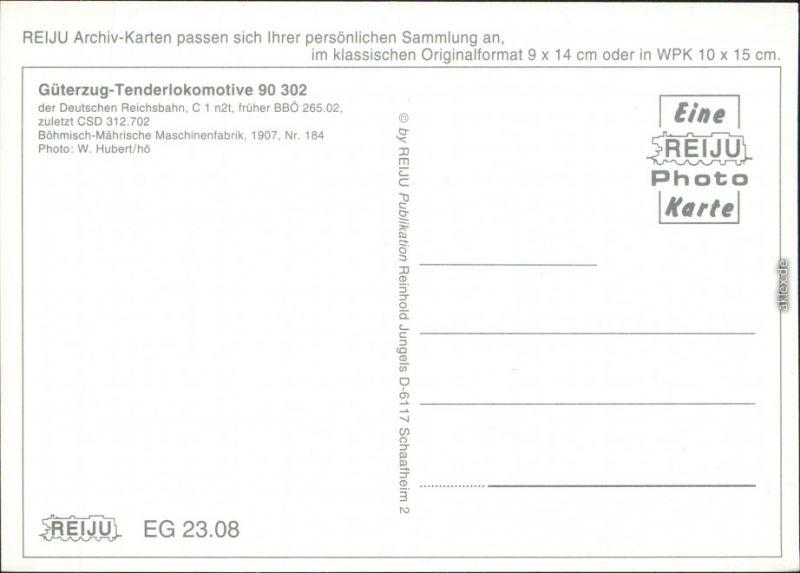 Ansichtskarte  Güterzug-Tenderlokomotive 90 302 1907/1995 1