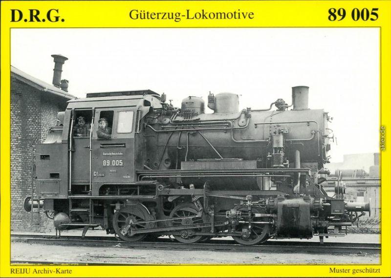 Ansichtskarte  Güterzug-Tenderlokomotive 89 005 1934/1995