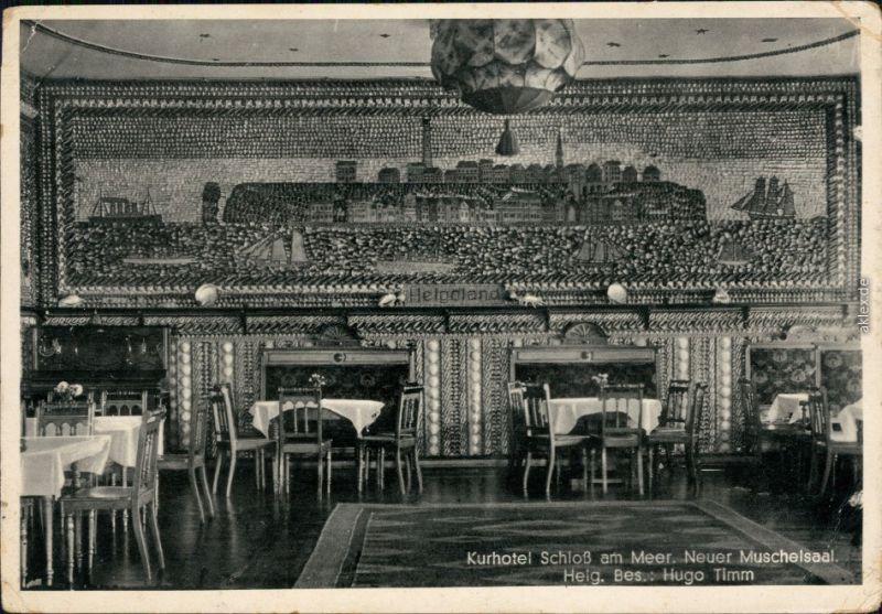 Ansichtskarte Büsum Kurhotel Schloß am Meer - Neuer Muschelsaal 1930