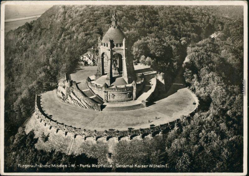Porta Westfalica Kaiser-Wilhelm-Denkmal - Porta Westfalica - Luftbild 1934