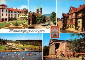 Meiningen Schloss, Stadtkirche, Henneberger Haus, Schwimmbad, Hoftheater g1978