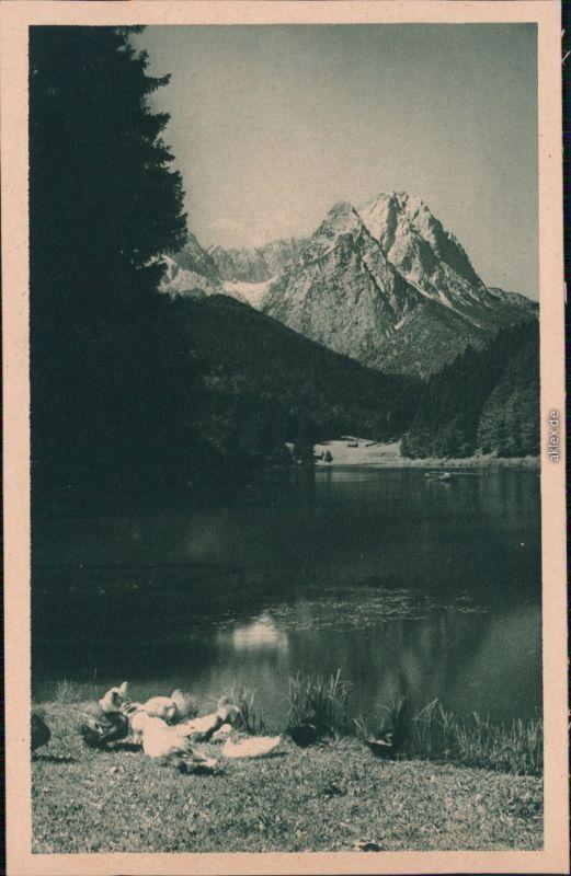 Ansichtskarte Garmisch-Garmisch-Partenkirchen Rissersee mit Bergmassiv 1932