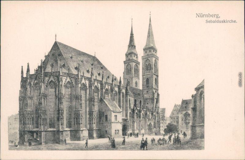 Ansichtskarte Nürnberg Sebalduskirche/St. Sebald 1914