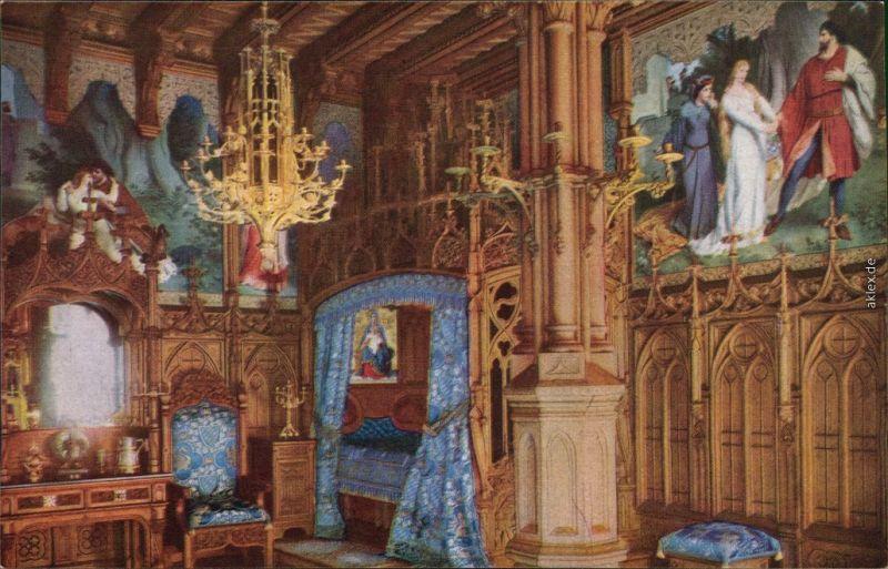 Ansichtskarte Schwangau Schloss Neuschwanstein - Schlafzimmer 1930
