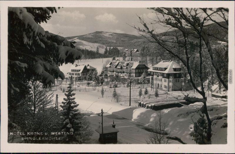 Spindlermühle Špindlerův Mlýn | Spindelmühle Hotel Krone u. Westend 1932