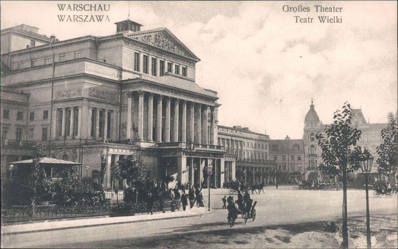 Ansichtskarte Warschau Warszawa Straßenpartie - Theater 1918