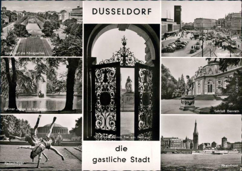Düsseldorf Königsallee, Hauptbahnhof, Hofgarten, Schloß Benrath, Rhein 1966