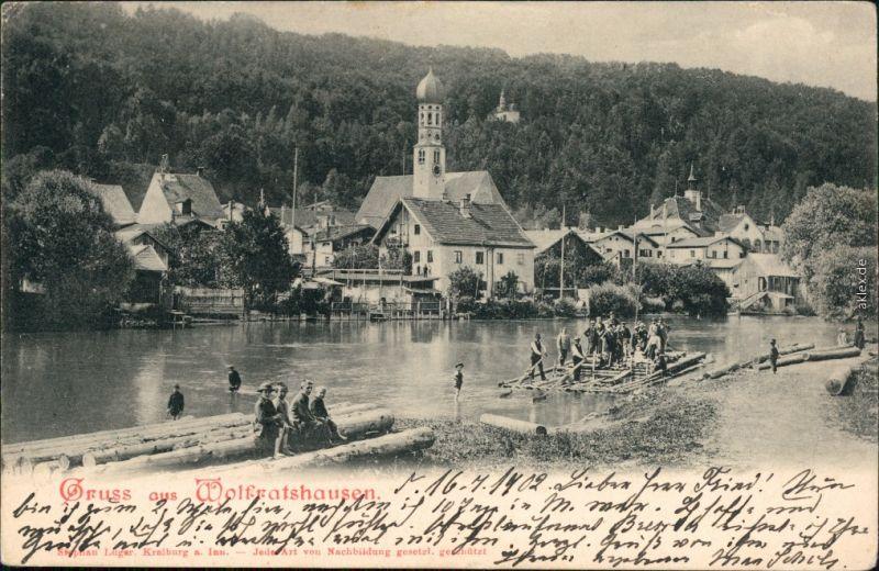 Ansichtskarte Wolfratshausen Stadt und Flösser 1902