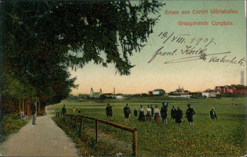 Ansichtskarte Bad Wörishofen Stadt, Grasgehende Kurgäste 1907