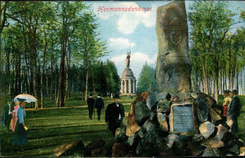 Ansichtskarte Hiddesen-Detmold Menschen am Gedenkstein - Hermannsdenkmal 1913