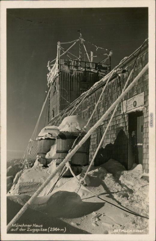 Ansichtskarte Grainau Münchner Haus im Winter - Zugspitze 1930