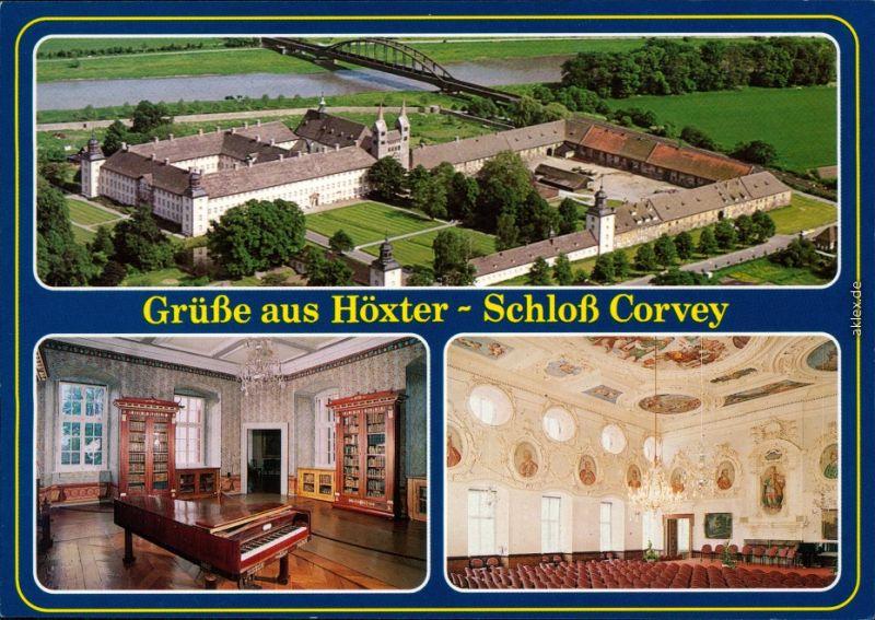 Ansichtskarte Höxter (Weser) Luftbild: Schloß Corvey 1985