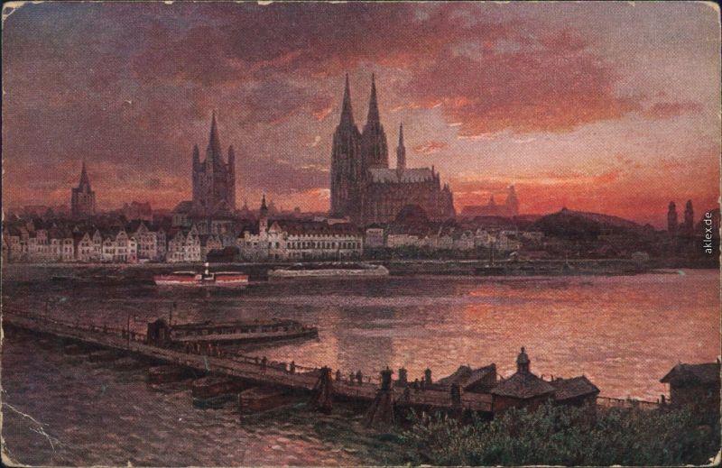 Ansichtskarte Köln Coellen | Cöln Rheinufer, Kölner Dom 1917