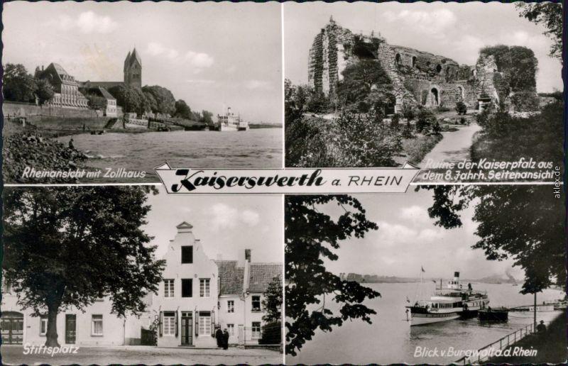 Kaiserswerth-Düsseldorf Rhein, Zollhaus, Kaiserpfalzruine, Stiftsplatz,  1963